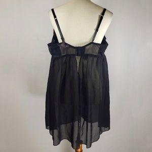Cacique Intimates & Sleepwear - Cacique Black & Leopard Print Sheer Lingerie 26/28